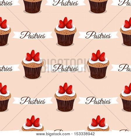 Seamless pattern made from hand drawn strawberry cupcakes on pink background. Vector illustration