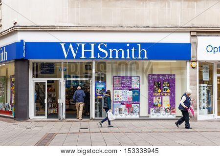 NOTTINGHAM ENGLAND - OCTOBER 22: Frontage of the WH Smith store. On Listergate Nottingham England. On 22nd October 2016.