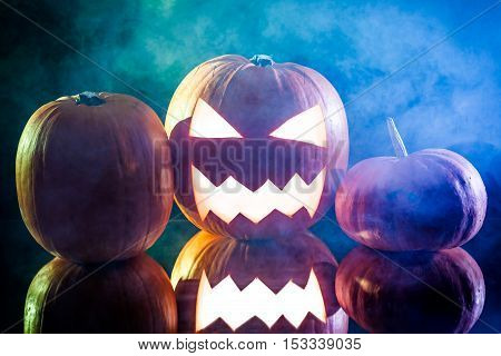 Halloween Pumpkin Head With Blue And Green Smoke