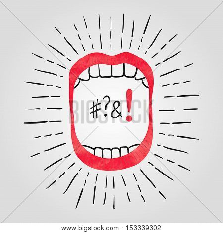 Vector illustration of open mouth with teeth. Loud noise symbol.