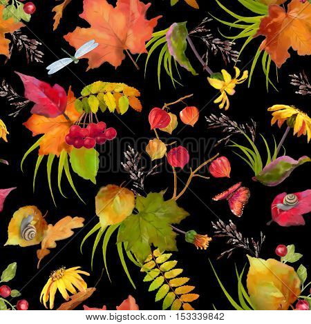 Watercolor autumn seamless pattern with flowers and fall leaves