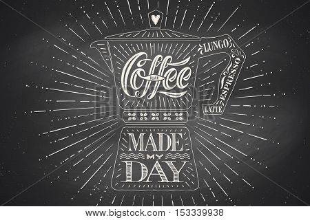 Poster coffee pot moka with hand drawn lettering Coffee made my day. Monochrome vintage drawing on chalk background for drink and beverage menu or t-shirt print. Vector Illustration