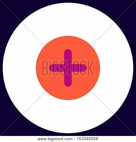 Plus Simple vector button. Illustration symbol. Color flat icon
