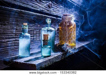Magical Witch Lab Full Of Blue Potion For Halloween