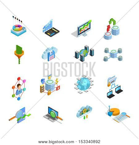 Modern data analysis electronic technologies isometric icons collection with search access storage and protection symbols isolated vector illustration
