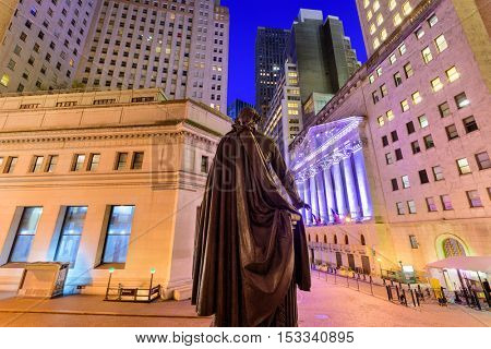 New York City cityscape at Wall Street from Federal Hall.