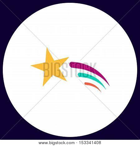 Meteor Simple vector button. Illustration symbol. Color flat icon