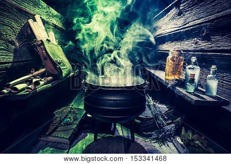 Magical Witcher Cauldron With Scrolls, Books And Potions For Halloween