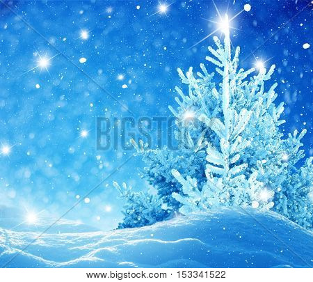 Merry christmas and happy new year greeting card with copy-space.Christmas background.Winter landscape with snow and christmas trees