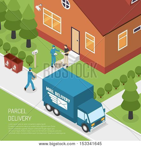 Post office letters and parcels delivery service isometric poster with postman at the door abstract vector illustration