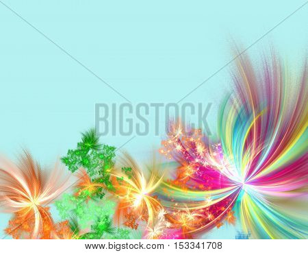 Fractal abstract firework copy space computer generated image