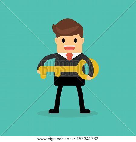 businessman holding a golden key to success