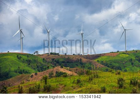 The Wind-turbines or Energy farm in Thailand