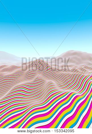 Colorful line waves stripes fading to blue horizon illustration