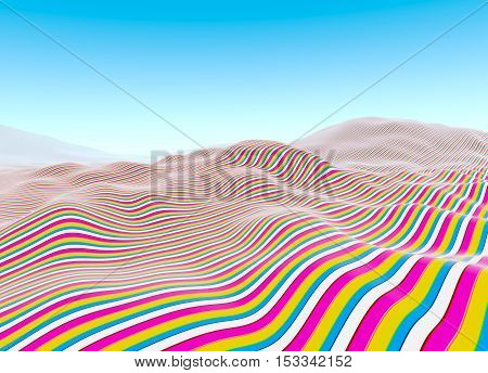 Colorful lines pattern waves of stripes fading to blue sky illustration