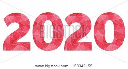 Happy New Year 2020 vector red and pink polygonal symbol isolated