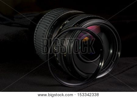 Telephoto lens aperture close up with UV filter.