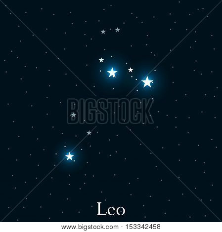 Leo Zodiac Sign. Bright Stars In The Cosmos. Constellation Leo. Vector Illustration.