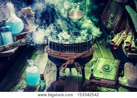 Full Of Magic Mixture Witcher Hut With Blue And Green Smoke For Halloween