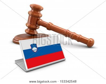 3D Illustration. 3d wooden mallet and Slovene flag. Image with clipping path