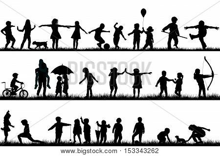 Set of black children silhouettes playing outdoor
