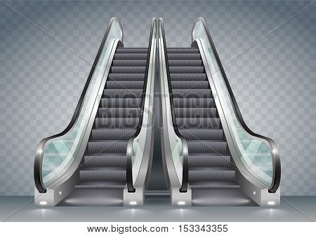 Double escalator shopping center or office with clear glass. Vector graphics