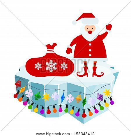 Holiday floe. Vector illustration of an ice floe with festive garlands and Santa Claus with a bag. Decorative lanterns lights snowflakes. Element of design and decoration