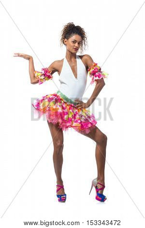 young dancer posing on a studio background