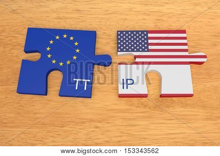 TTIP: EU and US Flag Puzzle Pieces On Wood 3d illustration