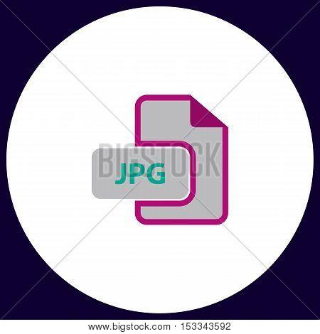 JPG Simple vector button. Illustration symbol. Color flat icon