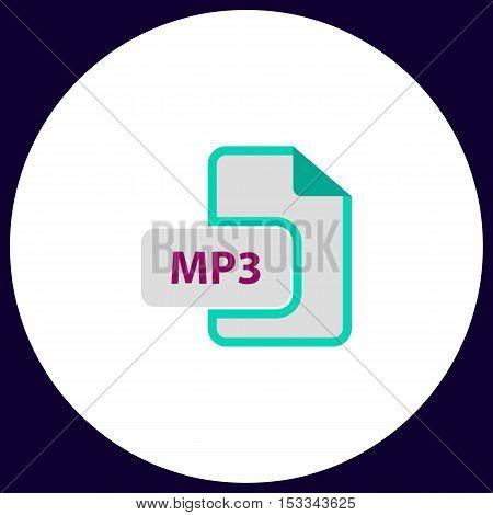 MP3 Simple vector button. Illustration symbol. Color flat icon