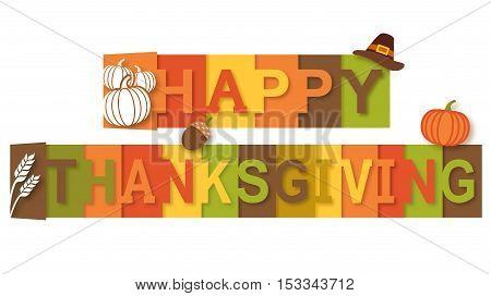 Happy Thanksgiving Message Text with Harvest Concept
