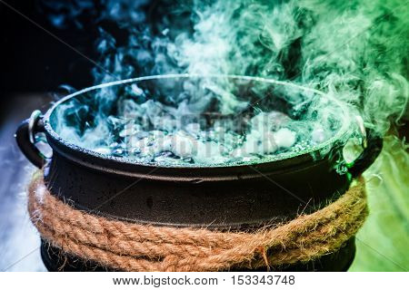 Closeup Of Witcher Cauldron With Magical Mixture For Halloween