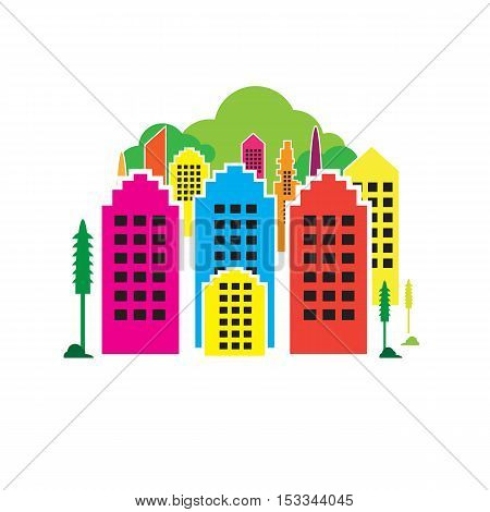 vector Building color design on white background