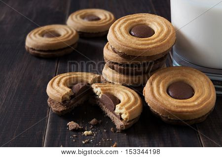 A close-up horizontal photo of Chocolate biscuits and a glass of milk