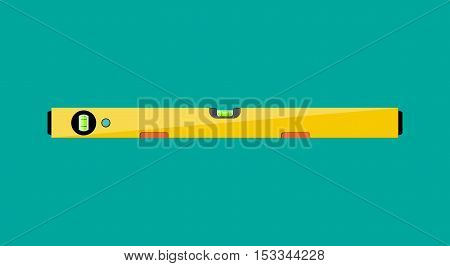 Yellow building level. plastic bubble level, vector illustration in flat style