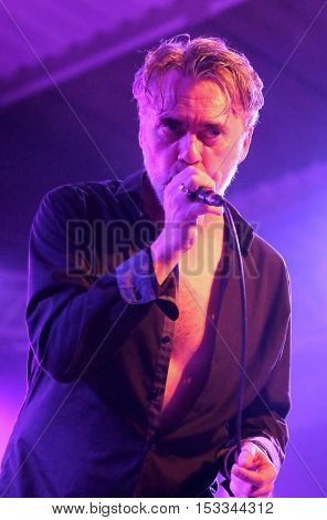 SOUTHAMPTON, UK, October 20 2016:  Lead singer Paul McLoone performing with Irish band The Undertones at the Engine Rooms, Southampton, Hampshire UK