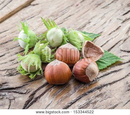 Young hazelnuts and ripe brown hazelnuts on the wooden table.