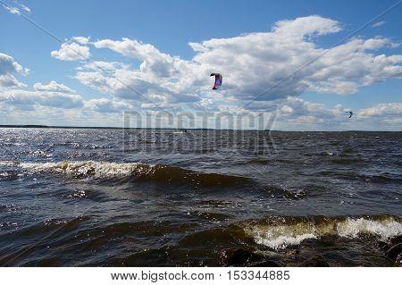 kitesurfing, kite, sea, lake, wind, surfer, water, sport, speed, board
