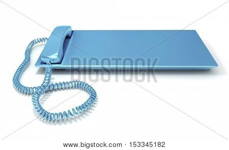 3D rendering of a blue telephone with a lot of copy space to insert your message