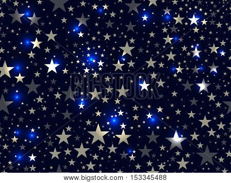 Stars Seamless Pattern. Magic Star Pattern. Outer Space. Vector Illustration.