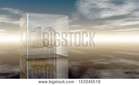 number ten in glass cube under cloudy sky - 3d rendering