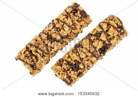 Two Granola Bars With Cereals And Chocolate