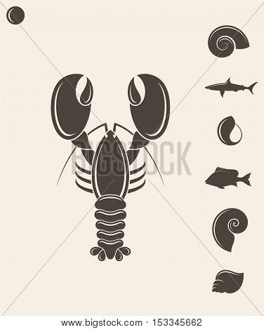 Shell lobster and fish on gray background (EPS 10)