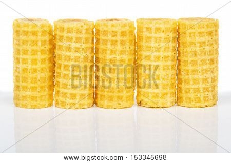 Row Of Wafer Rolls With Reflection