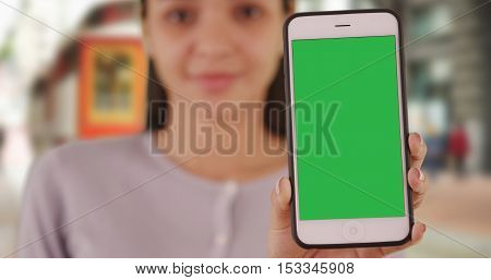 Mexican Woman Holding Smartphone With Green Screen
