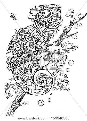 Chameleon coloring book for adults vector illustration. Anti-stress coloring for adult. Tattoo stencil. Zentangle style. Black and white lines. Lace pattern
