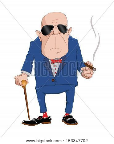 Man in blue suit with cigar on a white background. Vector illustration.