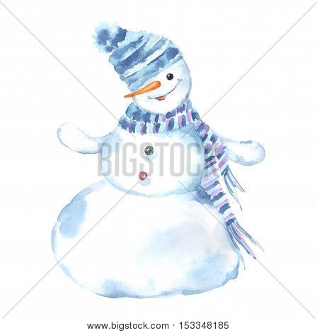 Watercolor illustration of a snowman on a white background. Christmas Greeting Card.