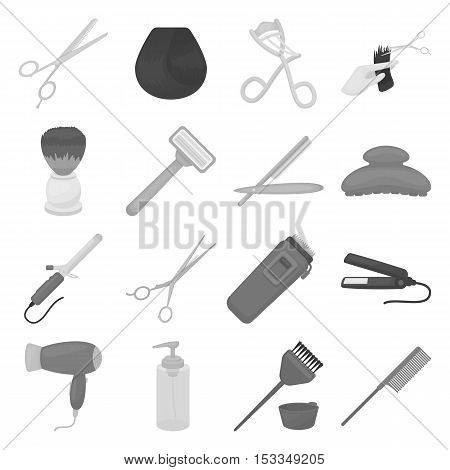 Hairdressery set icons in monochrome style. Big collection of hairdressery vector symbol stock